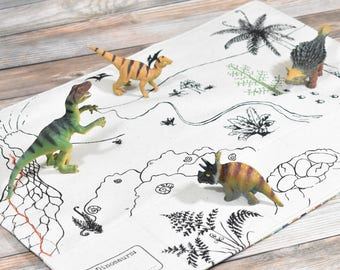 Organic Dinosaur Playmat, Pretend Play, Imaginative Play, Waldorf Toys, Travel playmat, Activity Mat, Fold Up Play Mat, Preschool Busy Board