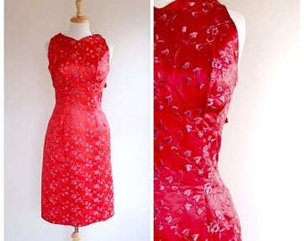 ON SALE 50s Dress / 60s Dress / Bombshell Dress / Wiggle Dress / Sheath Dress / Embroidered Dress