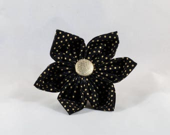 Black and Gold Polka Dot Girl Dog Flower Bow Tie, New Year's Eve, Holiday, Christmas, Festive