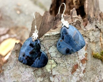 Mid Week Sale ---- Pietersite Heart Earrings