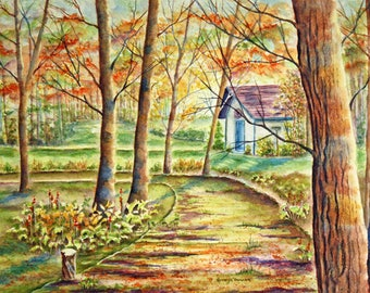 Autumn Landscape, Original Watercolor Painting, Large, garden shed, path, trees, woods, green, orange, brown