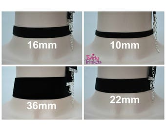 """BLACK VELVET CHOKER Necklace, Handmade To Order, Choose Your Classic Ribbon Width 3/8"""" 5/8"""" 7/8"""" 1.5"""" And Length, Handmade To Order :)"""