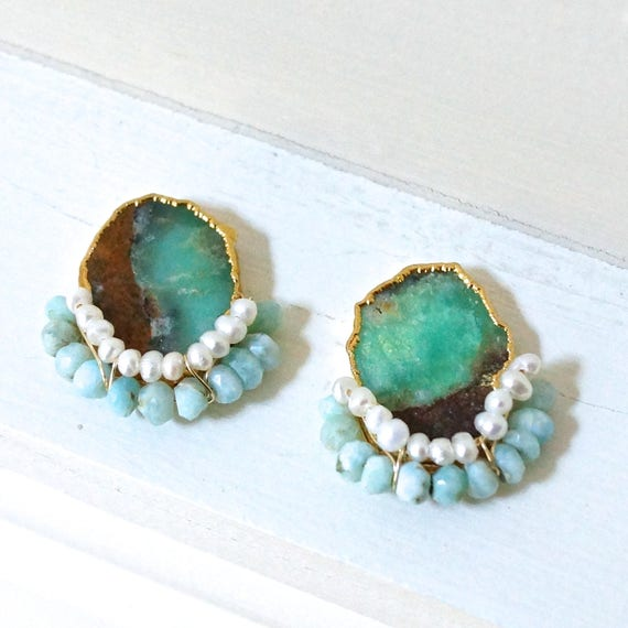 Chrysoprase geode raw stone stud earrings