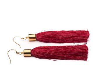 Red silk tassel earrings in Silver or Gold - 'Shimmy' - statement earrings - statement jewellery - statement jewelry