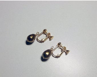 40% OFF SALE thru Tues Swarovski Clipon Brass Gold Pearl Drop Earrings, Christmas Valentines Mothers Day Bridesmaid Mom Sister Grandmother J