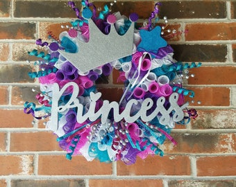 """Pink, Purple, White, and Teal Deco Mesh Curl Wreath with Silver """"Princess,"""" Glittery Crown, and Star Wand"""