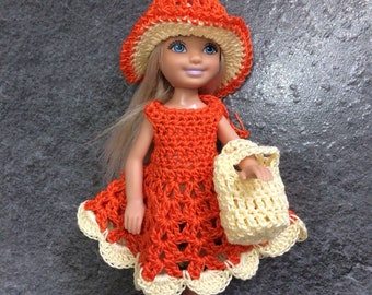 Chelsea doll clothes, Barbie sister, 5 inch doll dress, gift