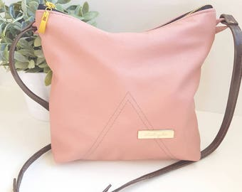 Pink Leather Adjustable Shoulder Bag Purse Handbag