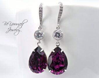 Purple Bridal Earrings Amethyst Teardrop Bride Earrings Swarovski Crystal Dark Purple Wedding Jewelry Plum Bridesmaid Gift Amethyst Jewelry