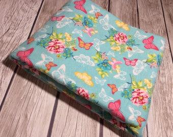 Floral Receiving Blanket, Floral Swaddle Blanket, Extra Large Reversible Receiving Blanket, Baby Girl Receiving Blanket, Floral Baby Blanket