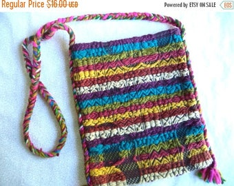 ON SALE Woven ethnic tribal bag/ vintage multi color purse/ crossbody bag/ vintage hippie bohemian unique bag
