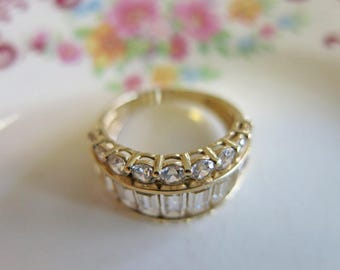 14K Yellow Gold Ring Stunning Statement Channel Ring cz emerald cut baguettes Wedding Ring 5.4g Estate Vintage Ring Wedding Bridal Jewelry