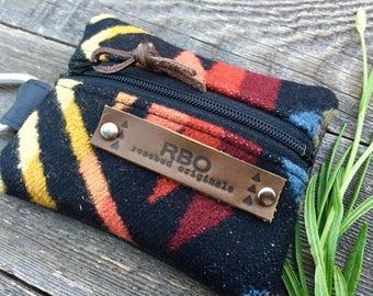 Venture Carabiner Coin Case // Charcoal Multi Pendleton Wool Black Leather // Rosebud Originals