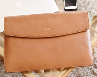 MacBook Pro 13 case - Macbook Air 13 case - Leather laptop sleeve - Laptop sleeve 13 inch - Personalized sleeve -  Leather laptop case tan