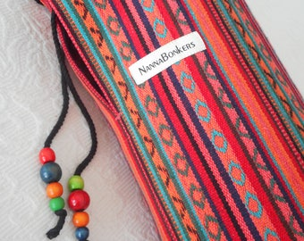 Yoga Mat Bag - Mexican Woven Fabric - RED - Unisex simple design. Pure Cotton, beaded draw string, roomy.