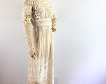 Antique Edwardian wedding dress | ivory net and lace 1910s  dress - small
