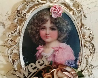 Ornate Antiqued Framed 3-D Picture of Child with Silk Flowers & More! Sweet!