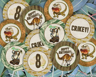 Australian Animals BIRTHDAY Party Circles/Cupcake Toppers - INSTANT DOWNLOAD - Editable & Printable Decorations, Koala, Kangaroo Decor