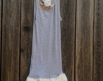 CUSTOM EXAMPLE skinny fashion gray anthropologie like shabby  cotton lace awesome boho girl gypsy ooak tee tank top