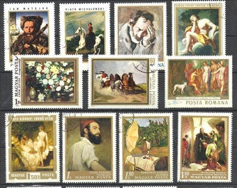 Fine Art postage stamps, vintage stamps, small lot of stamps for scrapbooking or collecting
