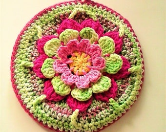 3 Dimensional Round Potholder with Flower - 100% Cotton Multi-Color Floral Potholder - Water Lily Potholder