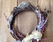 Real Raccoon Skull & Pheasant Feather Wreath