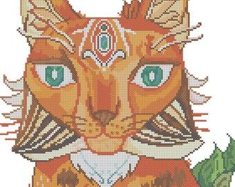 Forest lynx cross stitch pattern/cross stitch lynx/mystical cross stitch/counted cross stitch pattern/Licensed Artwork@SilverBeetleArt/PDF