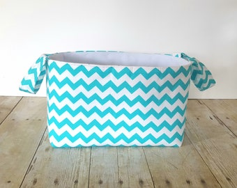 Fabric Storage Basket - Diaper Caddy - New Baby Gift - Storage Basket - Teal Chevron - Nursery Decor- Fabric Easter Basket