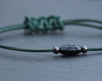 Swarovski Scarab Beetle Leather Bracelet Mens Unisex Father's Day Gift