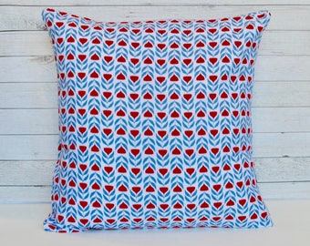 Blue and red Scandinavian style floral pillow cover. 1 cover for 20x20 insert. Retro Mod Vintage Style Tulips. Toss pillow throw pillow