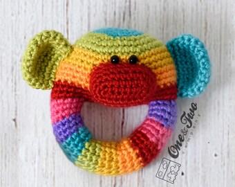 Rainbow Sock Monkey Rattle  - PDF Crochet Pattern -  Instant Download - Animal Rattle Crochet Nursery Baby  Shower