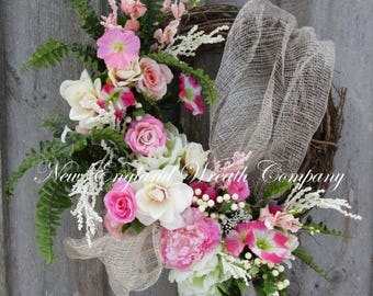 ON SALE Floral Wreath, Rose Wreath, Elegant Floral Wreath, Victorian Wreath, Country French Wreath, Designer Floral Wreath, Mother's Day Gif