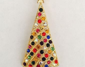 """Great Sale Colorful Christmas Tree Brooch 3 x1 1/2"""" Finishing Piece for Outfit Tote Purse Hat or Wedding Bouquet"""