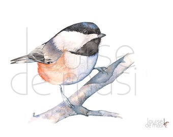 Chickadee print of watercolor painting, C20717, A3 size print, Chickadee watercolor print, Chickadee watercolor painting, Chickadee art