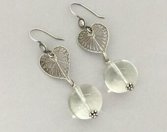 Vintage Assemblage Dangle Earrings - Silver Heart Earrings Romantic Gift for Wife - Silver Dangle Drop Earrings - Crystal Orb Earrings