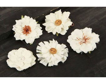 SALE Fabric Flowers -  Tessitura A -  562748 -   White fabric and paper  flowers with embellished centers