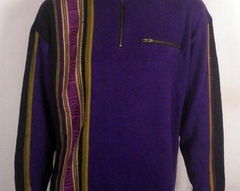 vtg 90s N8tive Nits Colorblock Tribal Pattern Sweater NOS tags purple/black XL