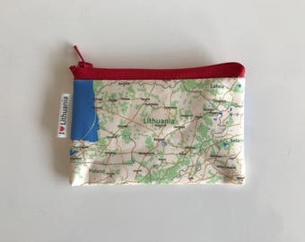 Lithuania map Zipper pouch - printed with the map of Lithuania, Europe - Made to order