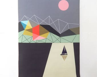 Solitude, fabric, wall hanging, Ellen Giggenbach