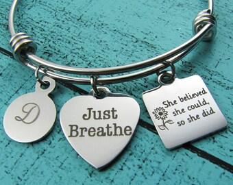 just breathe bracelet, yoga bracelet, recovery gift, inspiration bracelet, mindfulness gift, sobriety jewelry, encouragement gift for her