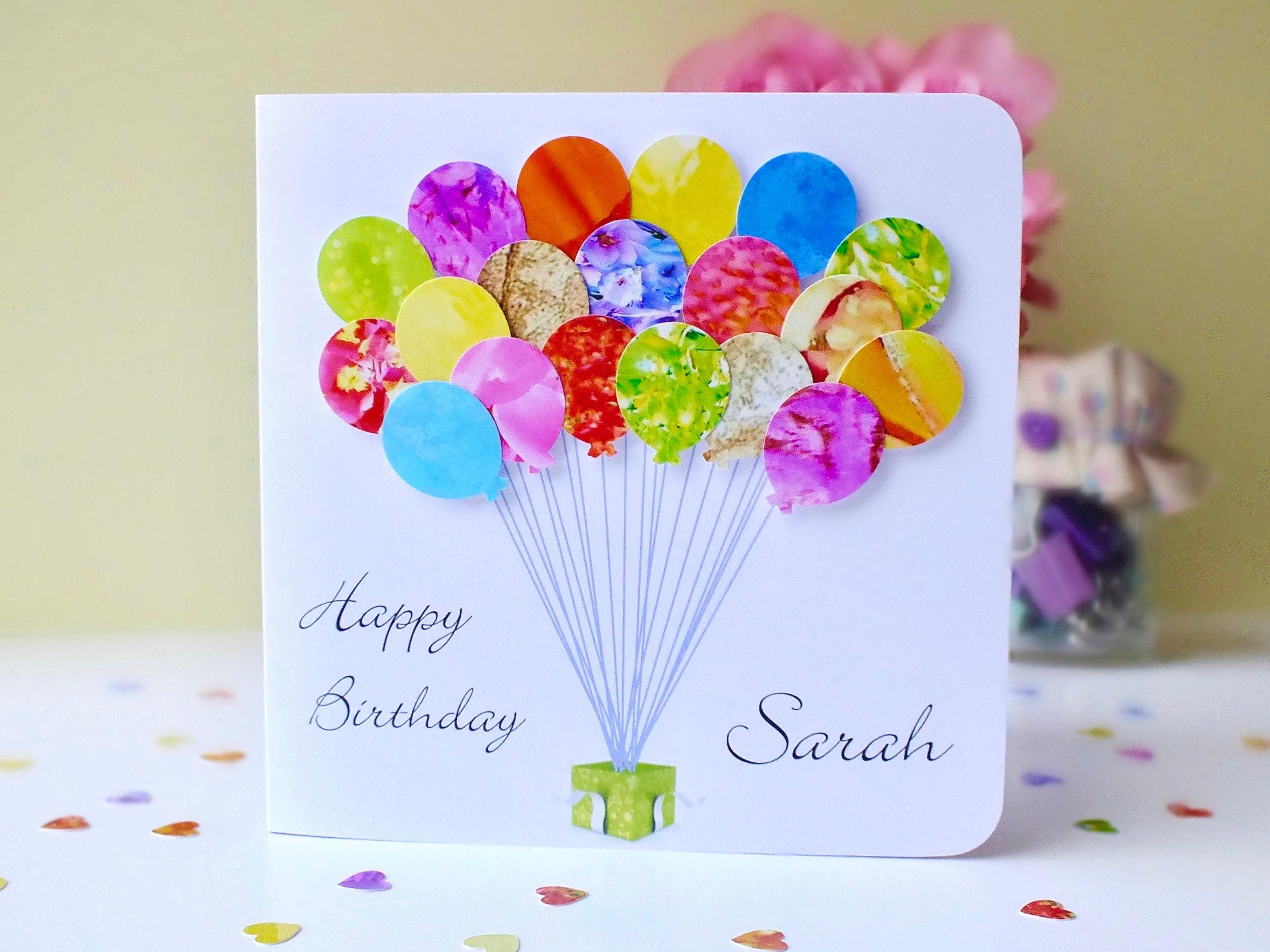 Personalised Birthday Card Handmade Custom Birthday Balloons