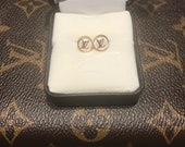 Up cycle Louis Vuitton LV stud earrings