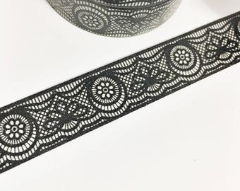 Washi Tape Black Lace Washi tape Ink Black Colored Lace Washi Tape 11 yards 10 meters 15mm