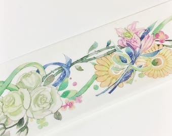 Gorgeous Watercolor Painted Multi Colored Flowers Variety of Flowers Bouquets Floral Washi Tape 5.5 yards 5 meters 45mm