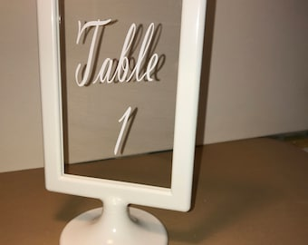 White acrylic wedding table number frames, reserved table sign, dessert table sign, sing in frame