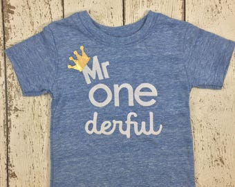 mr onederful shirt, Mr onederful party, one decor, Boy's birthday shirt, boys birthday outfit, gold birthday crown, boys shirt, birthday tee