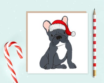 French Bulldog Christmas Card, french bulldog card, Christmas cards, ideal gift for dog lovers, frenchie lover, dog lover FREE UK SHIPPING!