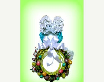 ON SALE 50% OFF Easter Bunny Spring Door Wreath Easter Egg Grapevine Hydrangea Silk Floral Arrangement Home Decor