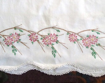 Vintage Pillowcases, Hand Embroidery, Crochet Trim, 10 Available