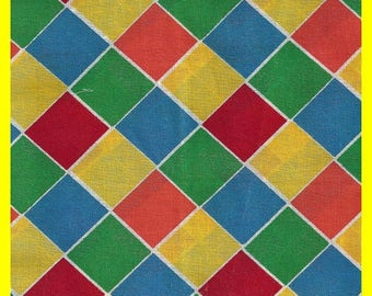 ON SALE Prime Color Checkerboard Cotton FABRIC Remnant Colorful
